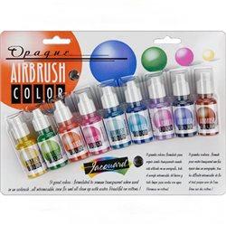 Набор кроющих красок Jacquard Airbrush Color,, 8 цв в блистере + бесцветный лак