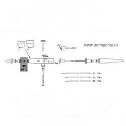 Аэрограф абразивный Paasche AEC/набор (твердосплавное сопло 0.58мм)