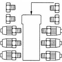 """Разветвитель воздуха рядный 6-ти канальный (ВР1\4"""") с гайками под ПВХ шланг 4/1мм"""