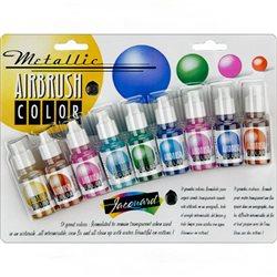 Набор красок металлик Jacquard Airbrush Color, 8 цв в блистере + бесцветный лак